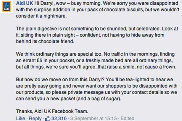 Response Aldi to Darryl Reilly